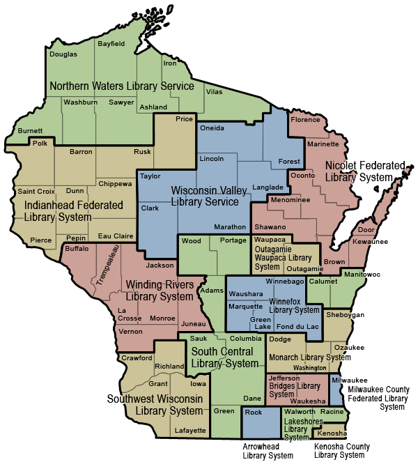 2017 Wisconsin Library Systems Map