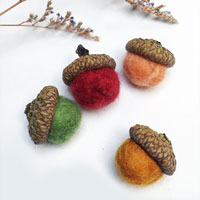 colorful wet felted acorns