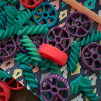 colorful pasta and craft supplies