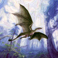 dragon flying in forest