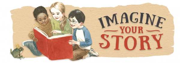 """Imagine Your Story"" banner with three children reading a book"