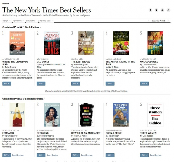 New York Times Best Sellers screenshot