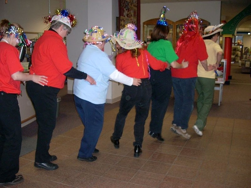 MCPL staff doing a conga line