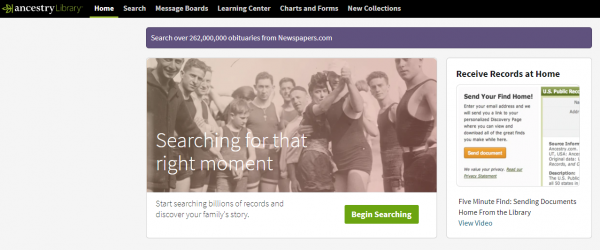 screenshot of Ancestry: Library Edition main page
