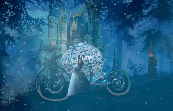 Cinderella with carriage and castle