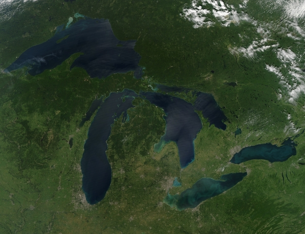 Google Earth-type view of the Great Lakes
