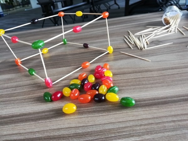 jelly bean and toothpick cube