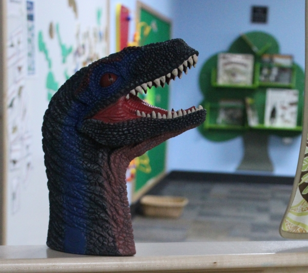 photo of dinosaur toy puppet in ELC