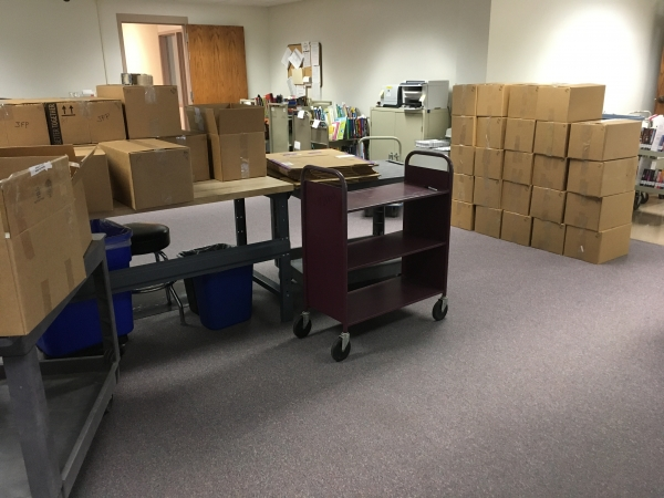 donated books boxed up in April 2020