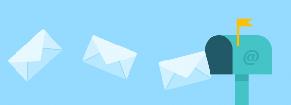 letters flying from an email mailbox