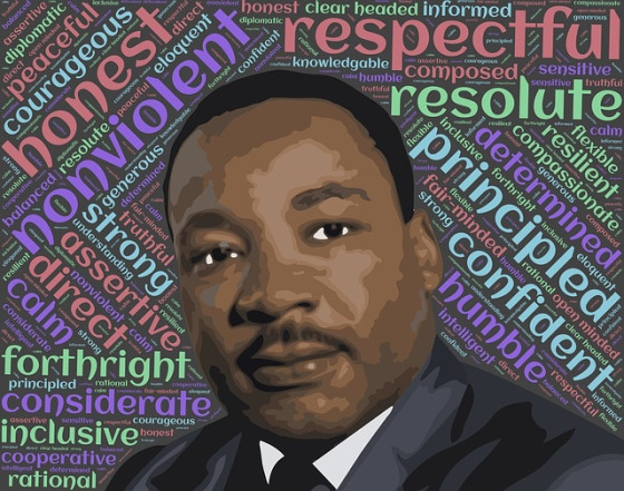 MLK image with words around him