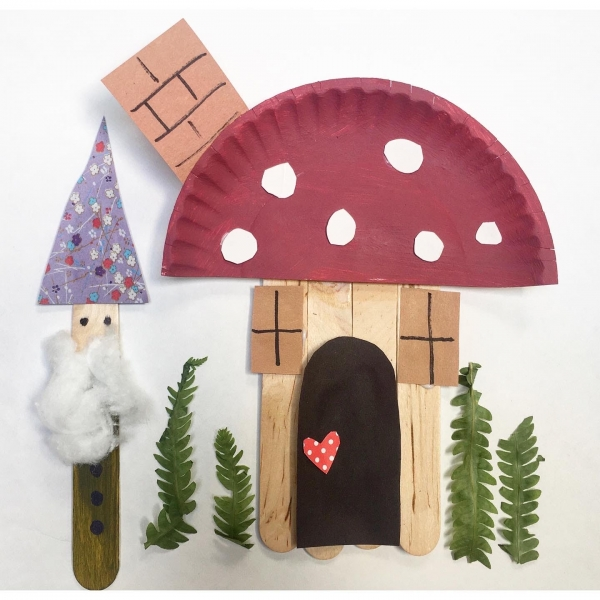 popsicle stick gnome and toadstool mushroom house