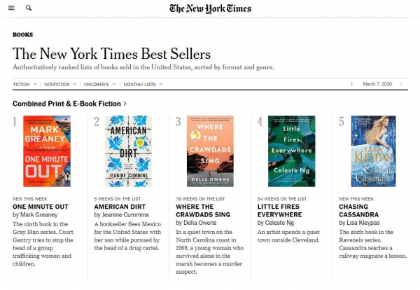 NY Times Best Sellers screenshot