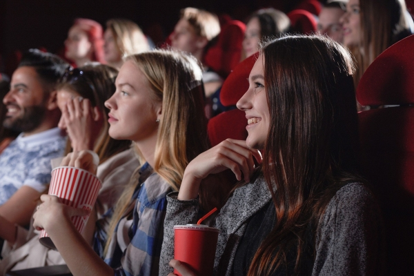 people watching movie in a theater