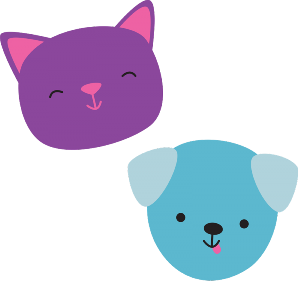 cat and dog faces