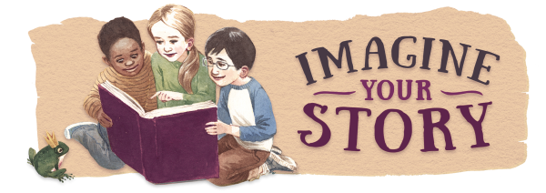 """""""Imagine Your Story"""" slogan; children reading a book"""