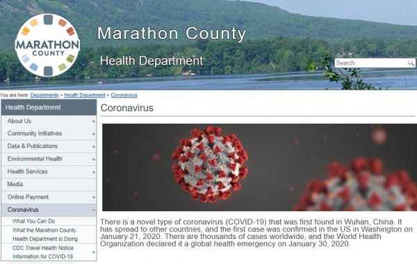 MC Heath Dept. coronavirus webpage screenshot