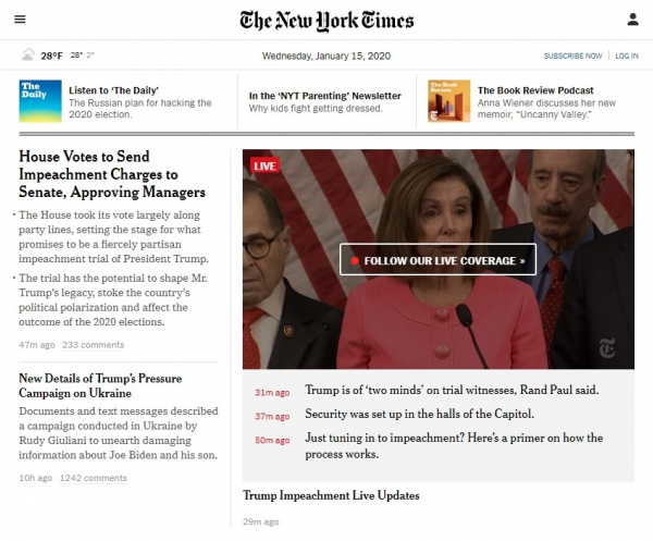 New York Times website screenshot