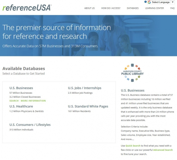 screenshot of ReferenceUSA