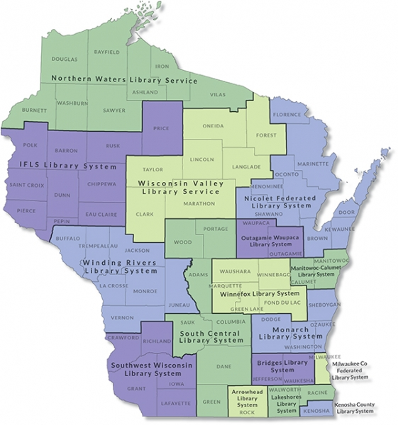 Wisconsin library systems map