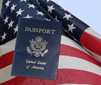 passport and U.S. flag