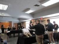 A photo of the Spencer High School Handbell Choir performing, Dec. 2018