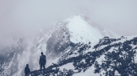 man on a snowy mountain