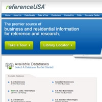 screenshot of ReferenceUSA interface